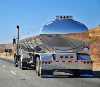 Chormed Truck on Highway 1, California, USA